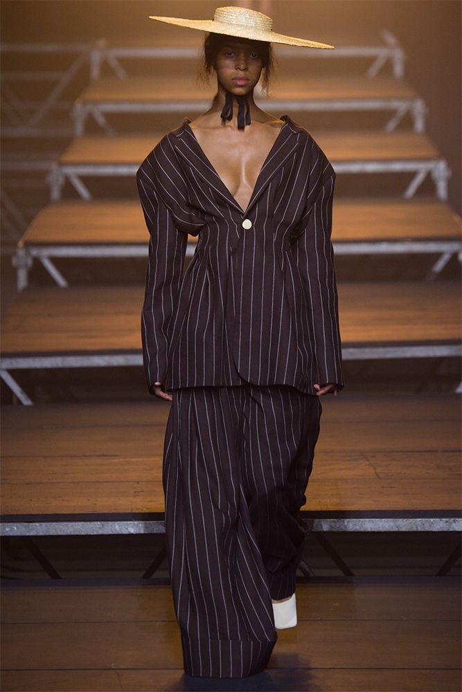 Jacquemus brown pinstripe suit spring 2017 as seen on Rihanna