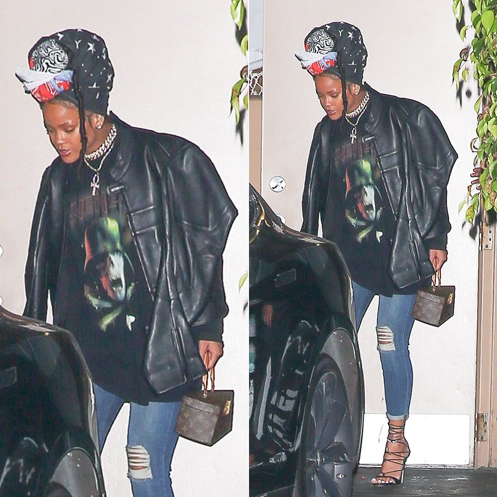 Rihanna Givenchy army skull print tee, Vetements black moto jacket, J Brand 835 mid rise skinny capri jeans, Dsquared2 Riri sandals, Louis Vuitton Twisted Box handbag