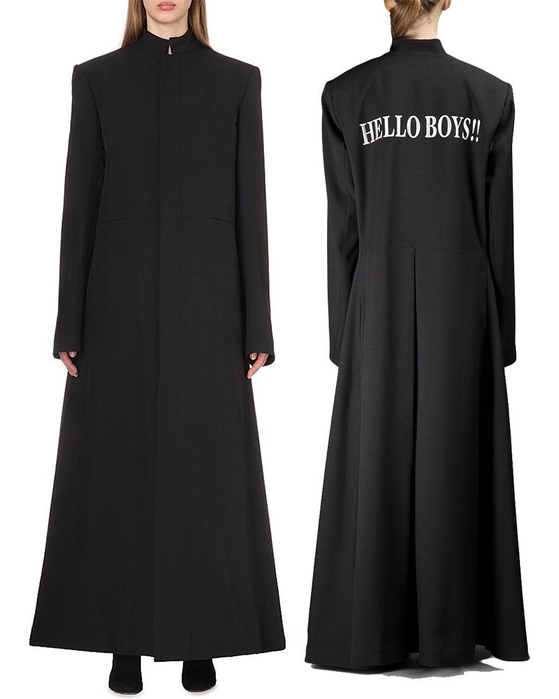 Vetements Hello Boys black floor-length coat as seen on Rihanna