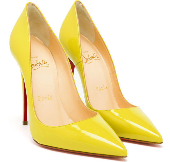 Christian Louboutin So Kate patent yellow pumps as seen on Rihanna