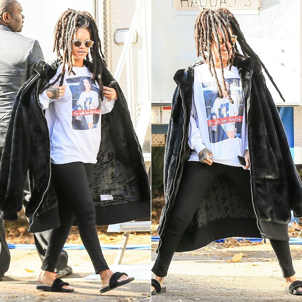 Rihanna Base DTLA Hillary Clinton tee, Fenty x Puma fur oversized bomber jacket and black fur slides