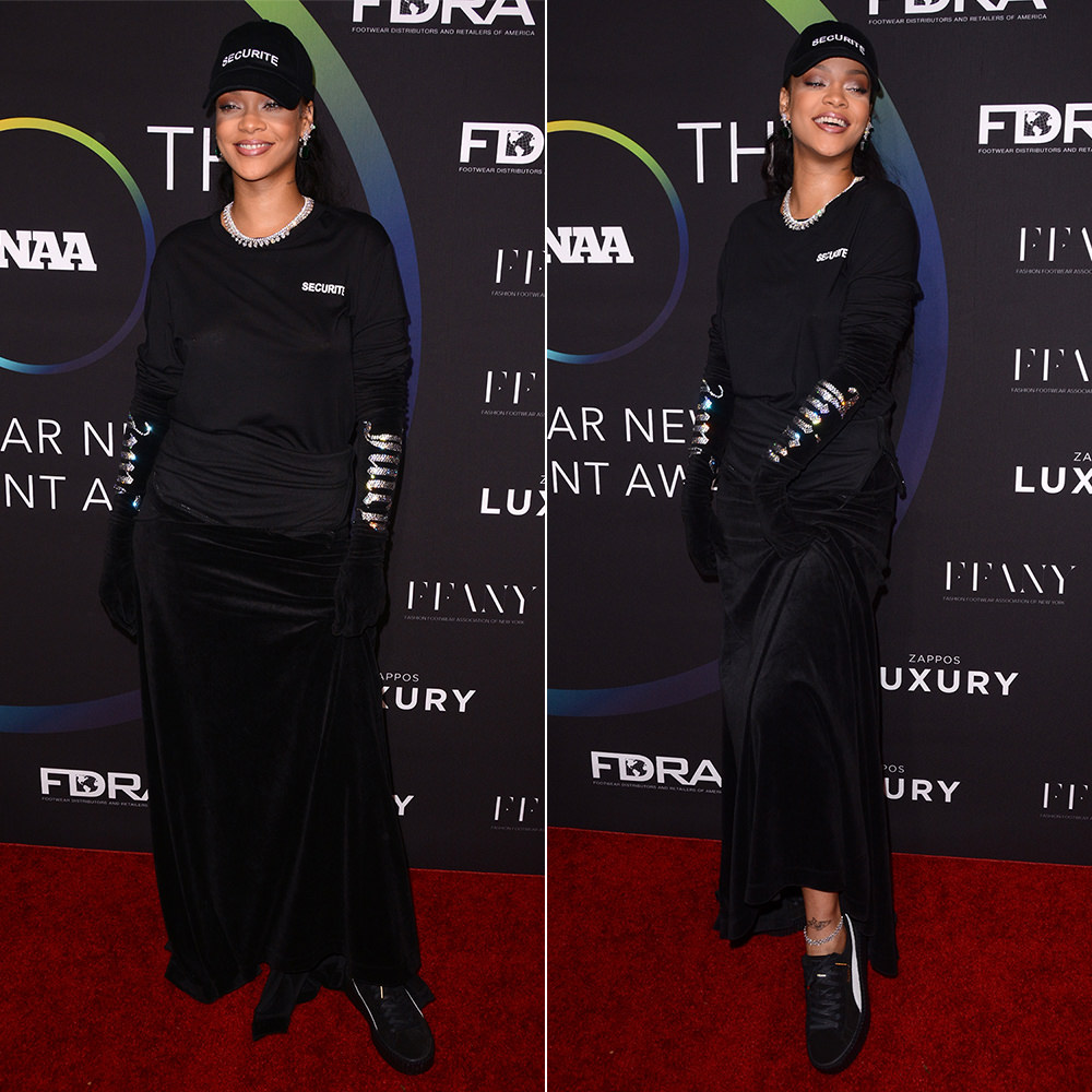 Rihanna Footwear News Awards creeper shoe of the year, Vetements Spring 2017 securite cap and tee, velvet maxi skirt and Juicy Couture opera gloves