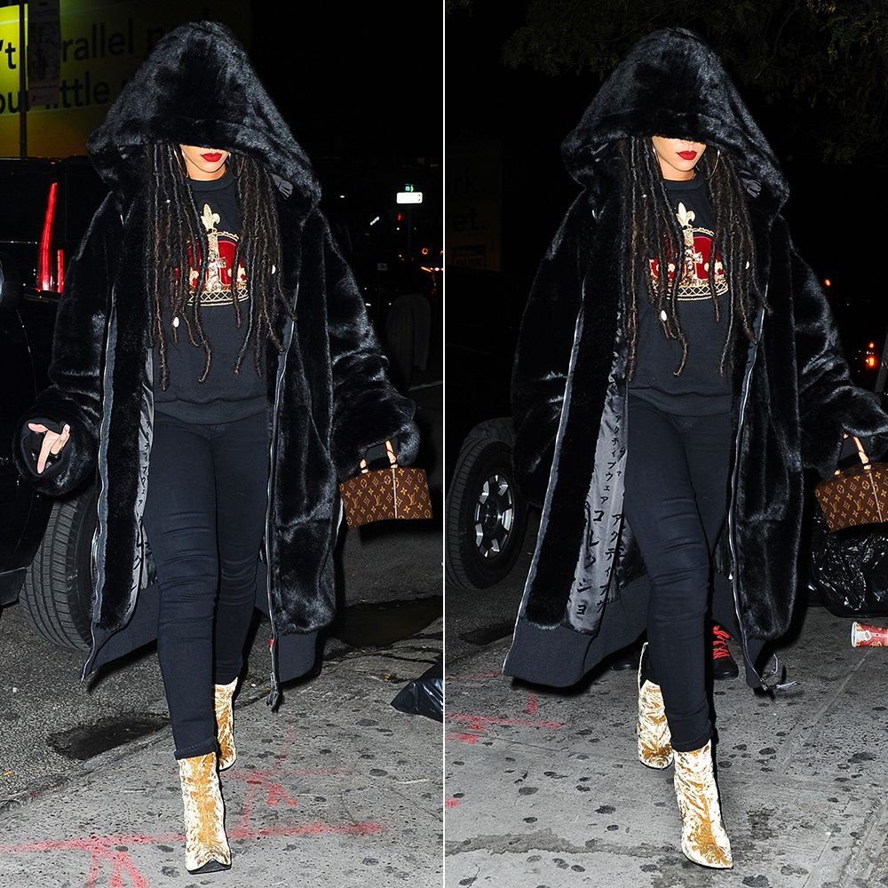 Rihanna Haider Ackermann velvet boots yellow, Fenty x Puma oversized faux fur bomber jacket, Louis Vuitton Twisted Box handbag, Citizens of Humanity Avedon Axel skinny jeans