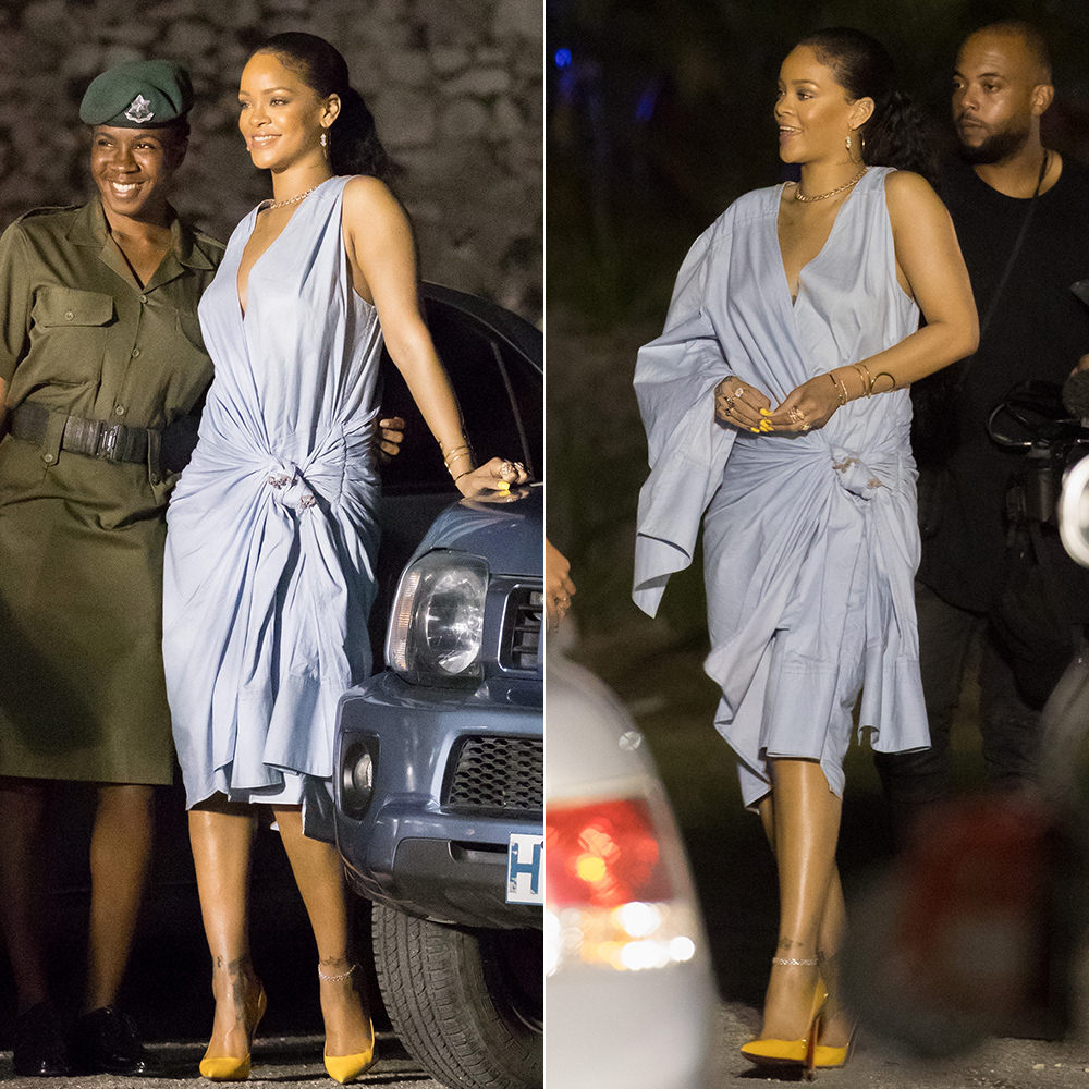 Rihanna Matthew Adams Dolan denim wrap dress, Christian Louboutin So Kate patent yellow pumps, Jacquie Aiche hoop earrings