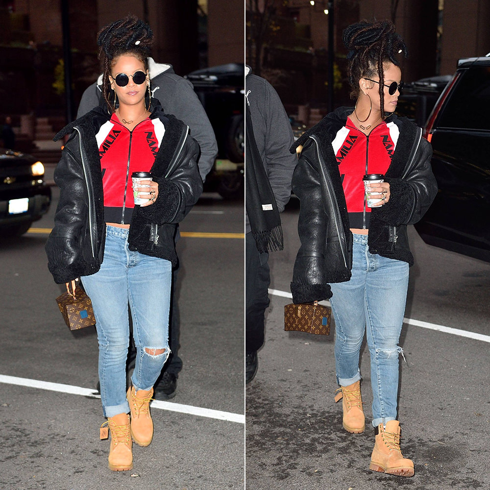 Rihanna Namilia red velour jacket, Vetements black shearling leather jacket, Balmain jeans, Timberland boots, Louis Vuitton Twisted Box handbag, Le Specs Wild Child sunglasses, Jacquie Aiche Hanalei and cameo rings