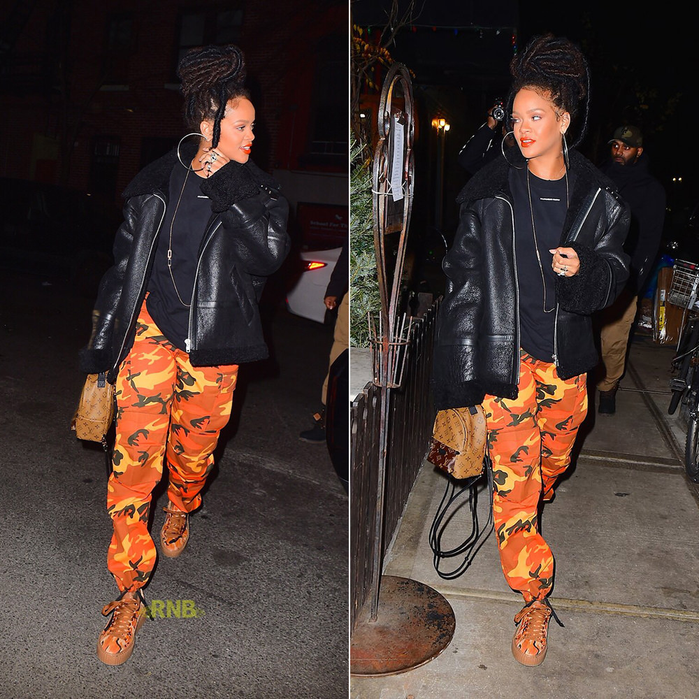 Rihanna Plugged NYC orange camo pants Nikki, Fenty x Puma orange camo Creeper sneakers, Louis Vuitton Palm Springs Mini monogram reverse backpack, Vetements shearling leather jacket, Jacquie Aiche Hanalei and cameo rings
