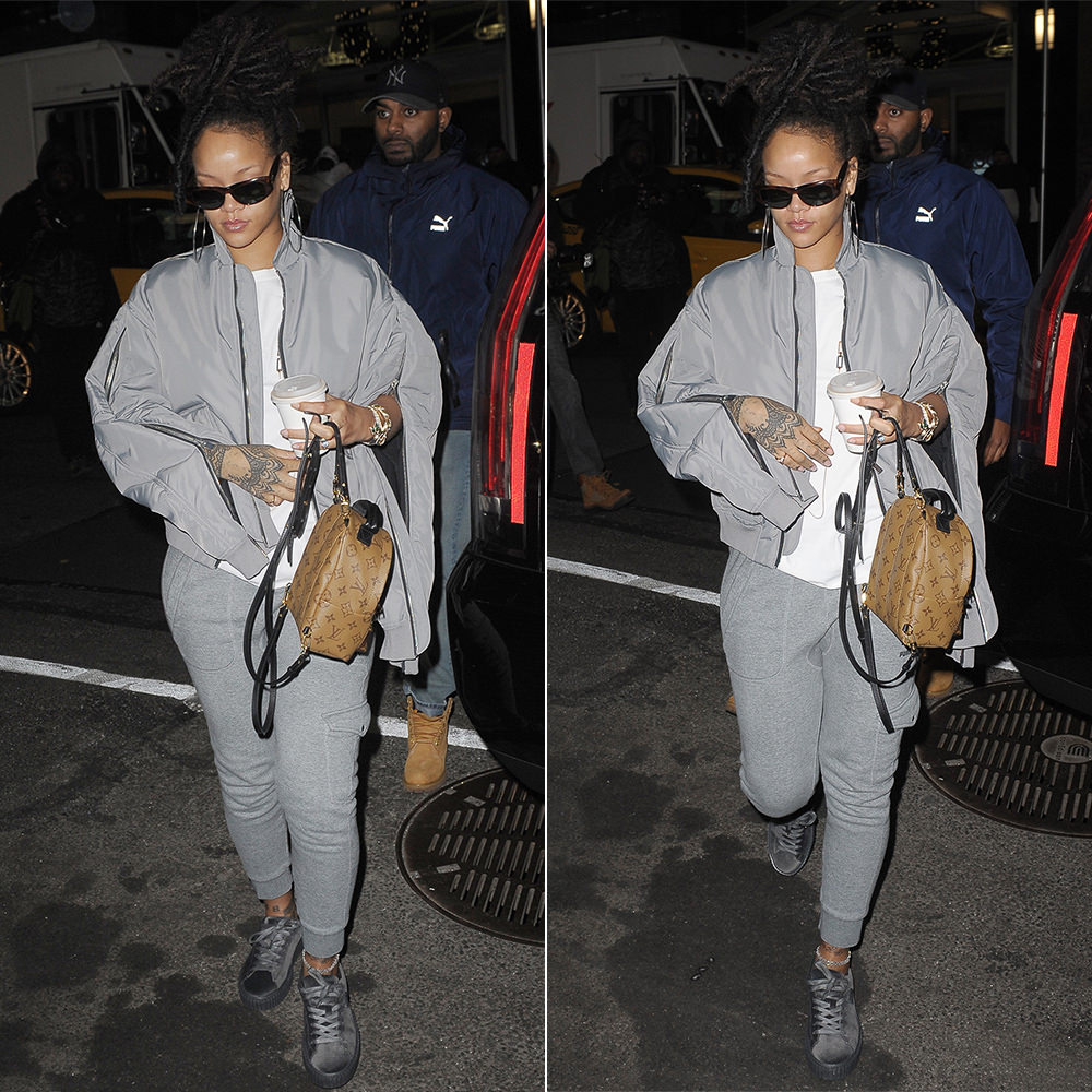 Rihanna YProject zip sleeve bomber jacket grey, Puma grey cargo sweatpants, Fenty x Puma velvet creepers, Louis Vuitton Palm Springs Mini backpack, Ray-Ban Caballero sunglasses, Jacquie Aiche Hanalei and cameo rings