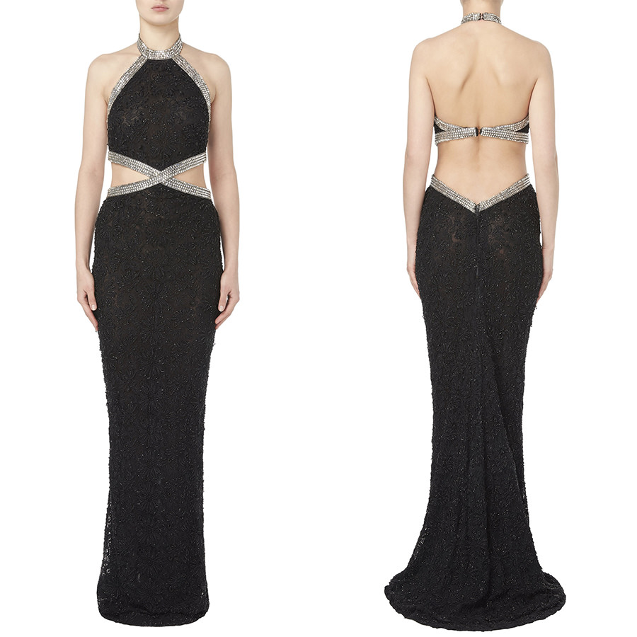 William Vintage Balestra vintage couture black beaded halter gown with crystal embellishment as seen on Rihanna
