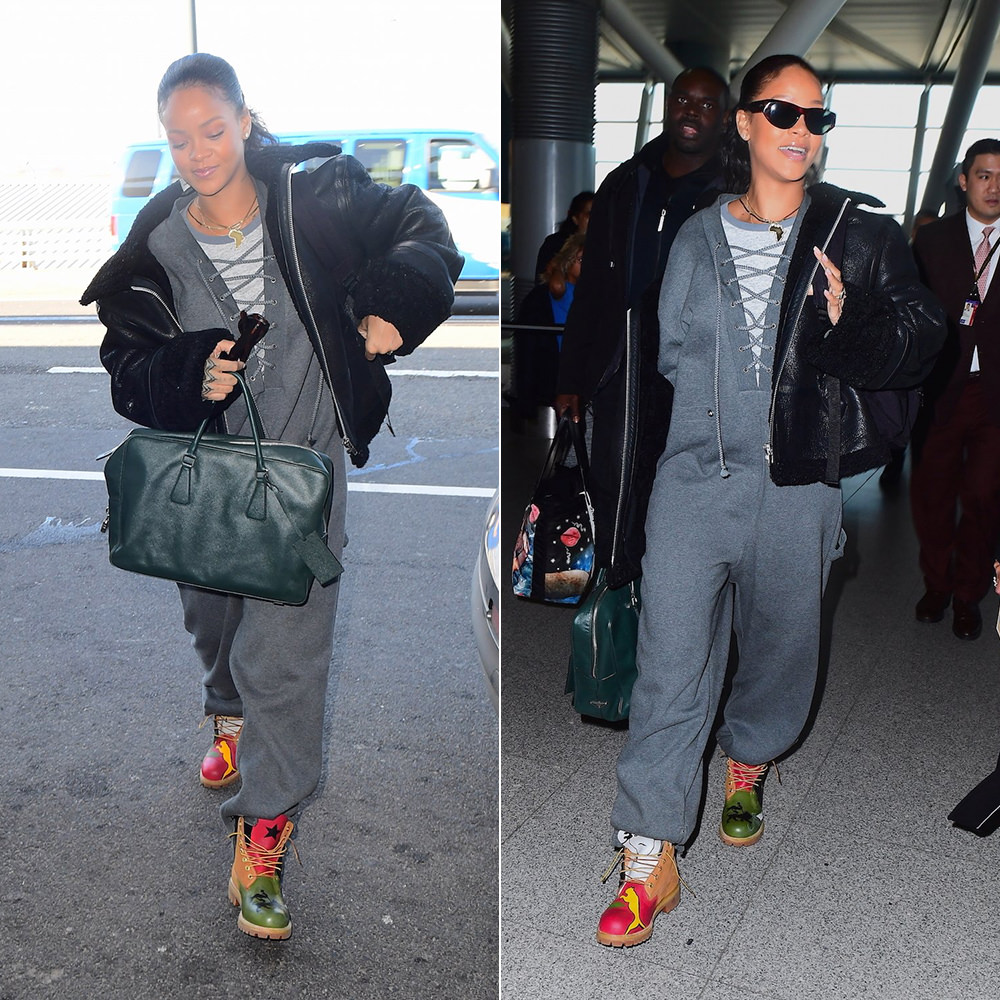 Rihanna custom painted Timberland boots Donnell McFadden Brooks, Fenty x Puma lacing fleece jumpsuit, Prada Saffiano briefcase, Ray-Ban caballero sunglasses, Vetements black leather shearling jacket