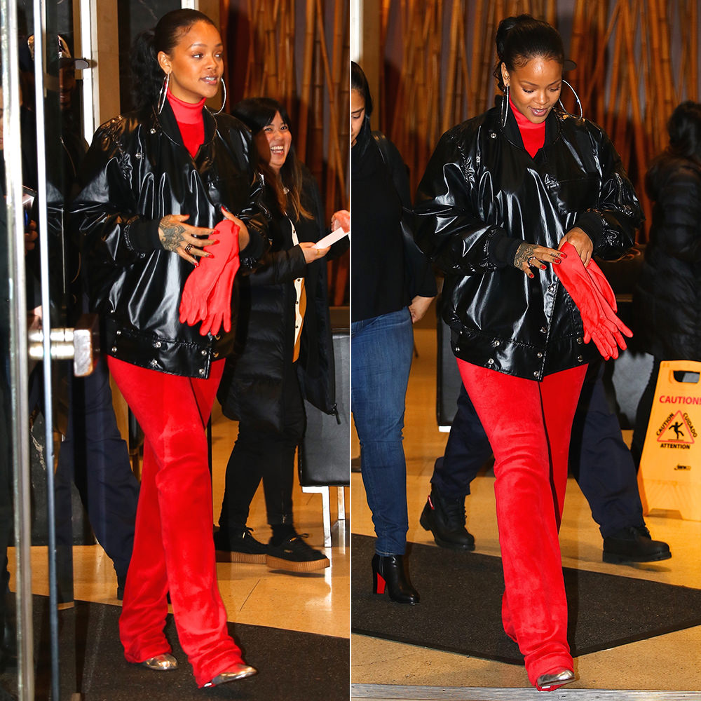 Rihanna Vetements Juicy Couture red velour turtleneck top and track pants, Vetements silver ankle boots with lighter-shaped heel