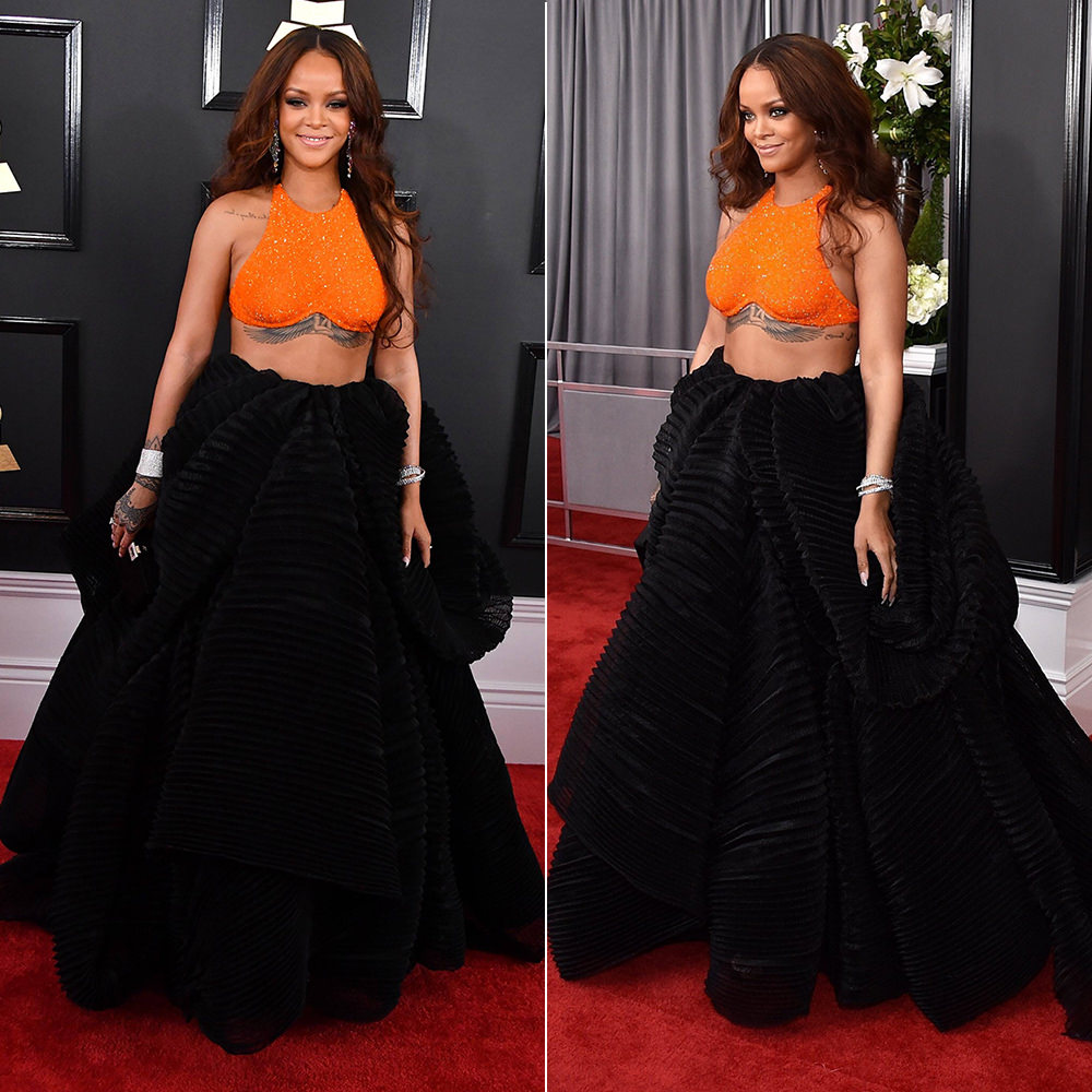 Rihanna Armani Prive Grammy Awards 2017 orange crop top and black skirt