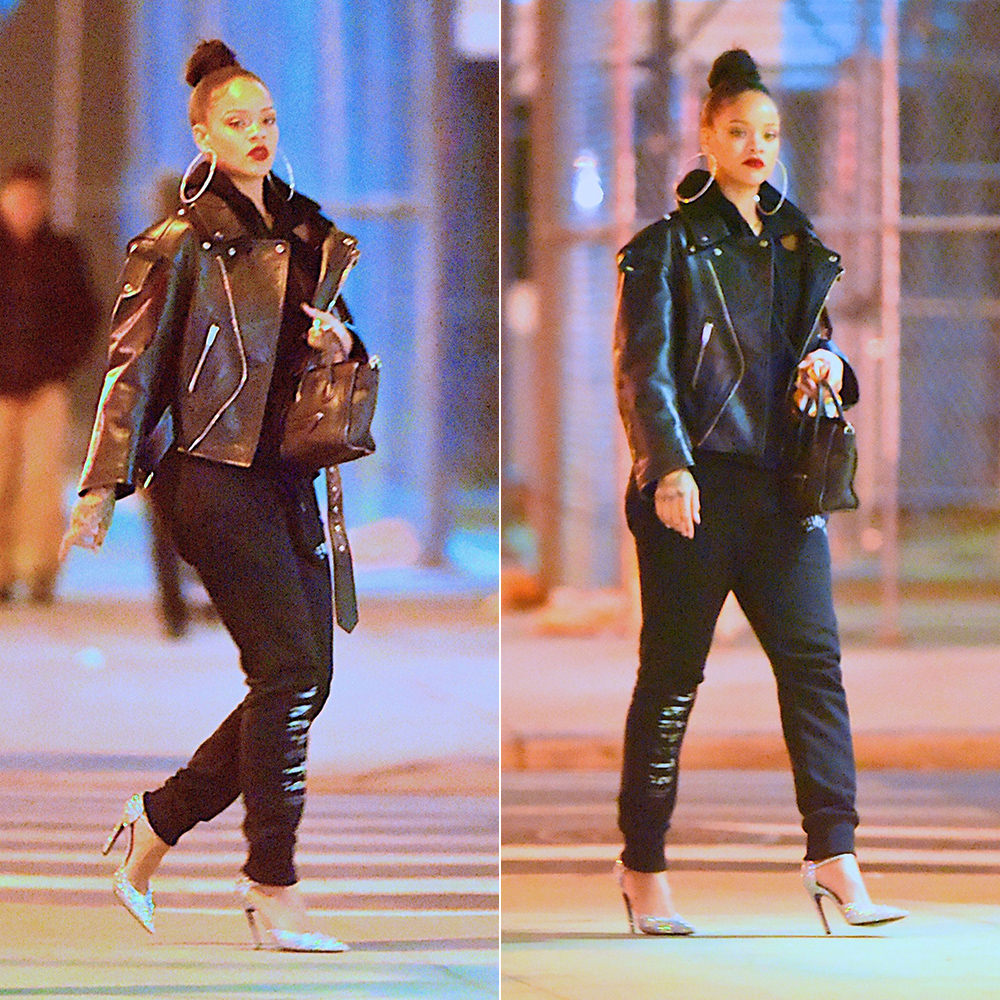 Rihanna Balenciaga glitter slash heel pumps d'orsay and black leather swing moto jacket, Trapstar Decoded camo logo sweatpants, Celine black mini luggate tote