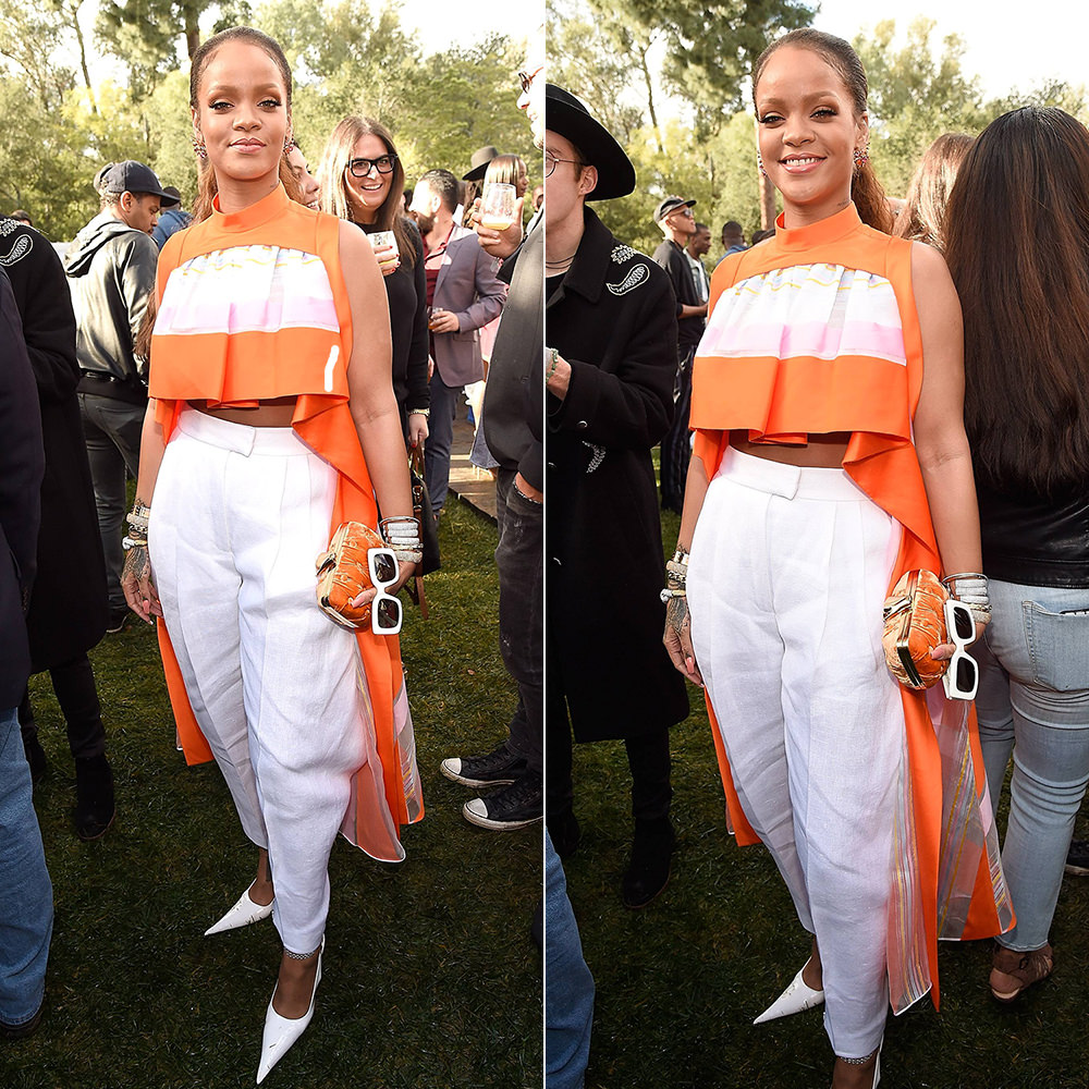 Rihanna Delpozo Spring 2017 orange striped top and white trousers, RoSa pointed toe pumps, Jill Heller diamond cuffs, David Webb aquamarine ring, Benedetta Bruziches velvet clutch, Cartier love bracelets, Jennifer FIsher snake cuff Roc Nation brunch