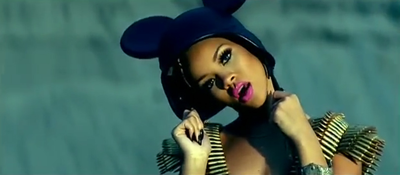 Rihanna Hard video Jeremy Scott Spring 2007 mickey mouse ears helmet