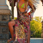 Harem Swimwear Wild at Heart leopard and paisley print kaftan as seen on Rihanna