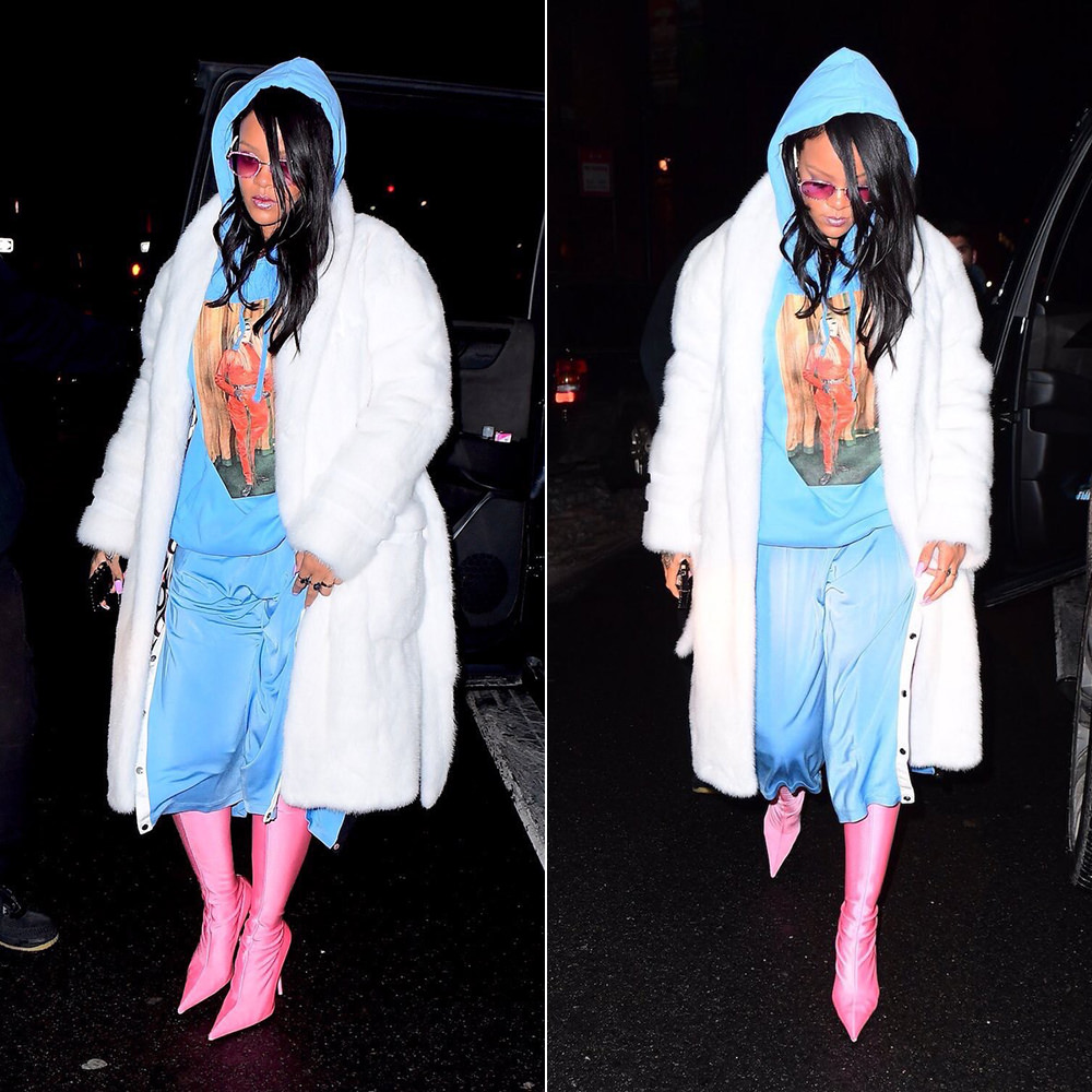 Rihanna Richardson Masters Mistresses Association hoodie blue, Maison Margiela blue cropped track pants, Balenciaga pink Indemallable thigh high boots, Louis Vuitton eye-trunk phone case, Alexander Wang white fur robe coat