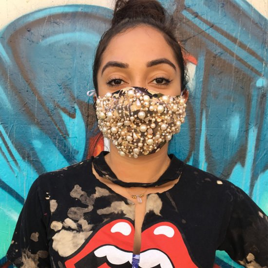 v2bentley pearl-embellished camo mask as seen on Rihanna Coachella 2017
