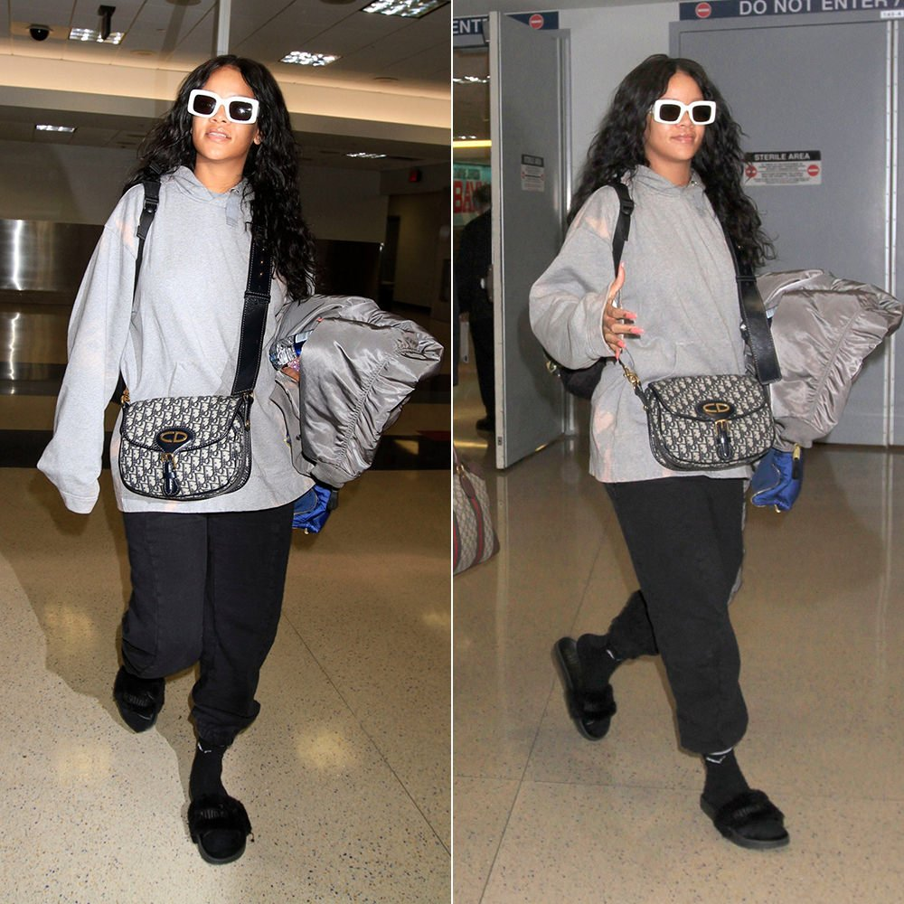 Rihanna Acne Studios tie-dye Florida skull hoodie, Vetements x Alpha Industries grey reversible bomber jacket, Vetements black logo sweatpants, Fenty x Puma fur slides, Puma Heritage striped socks, RAEN flatscreen sunglasses