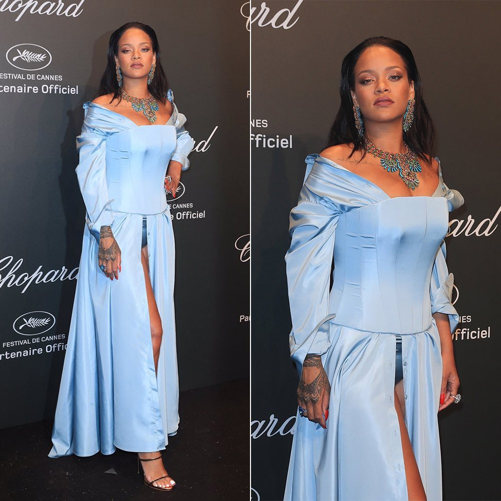 Rihanna Cannes Adam Selman blue gown croset, Giuseppe Zanotti gold sandals, Chopard earrings, necklace and rings