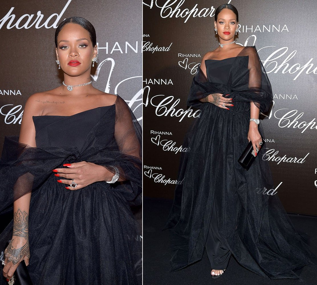 Rihanna Cannes Ralph Russo custom gown, Chopard diamond earrings, watch and rings, Giuseppe Zanotti suede mules, Roger Vivier flower crystal envelope clutch