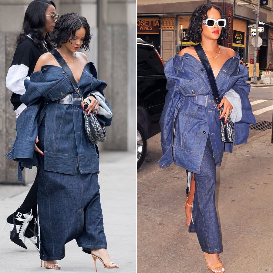 Rihanna Matthew Adams Dolan relaxed collar denim jacket, Dior handbag, RAEN flatscreen sunglasses, Manolo Blahnik Chaos sandals