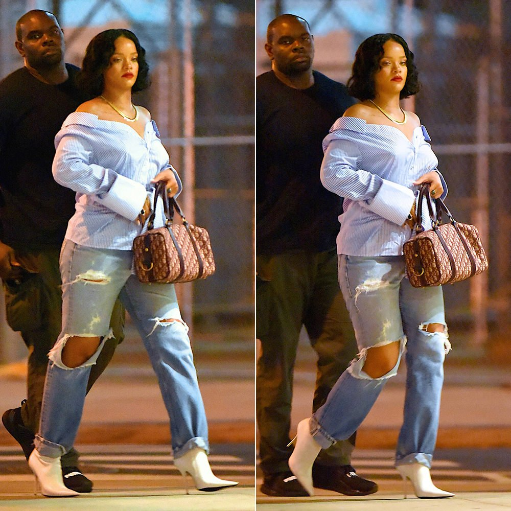 Rihanna Off-White off shoulder striped shirt, Balenciaga pointed toe white ankle boots, Dior Boston bag