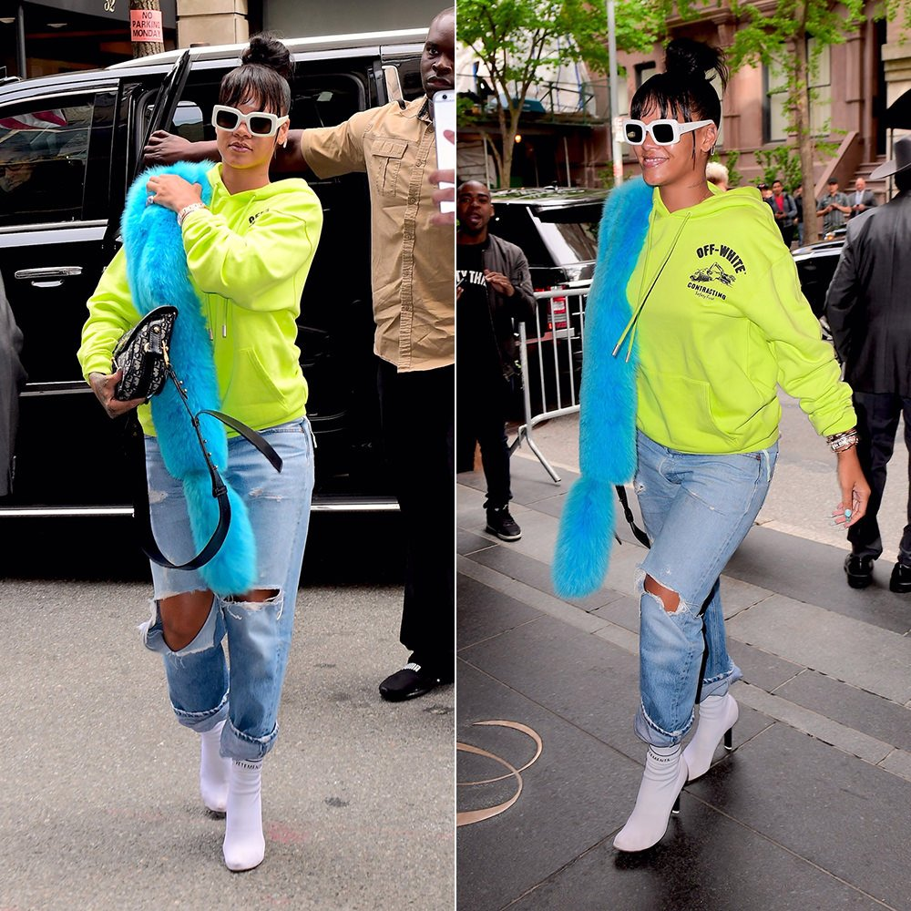 Rihanna Off-White yellow logo hoodie, Pologeorgis blue fur stole, Vetements white sock boots, Raen flatscreen white sunglasses, Dior handbag