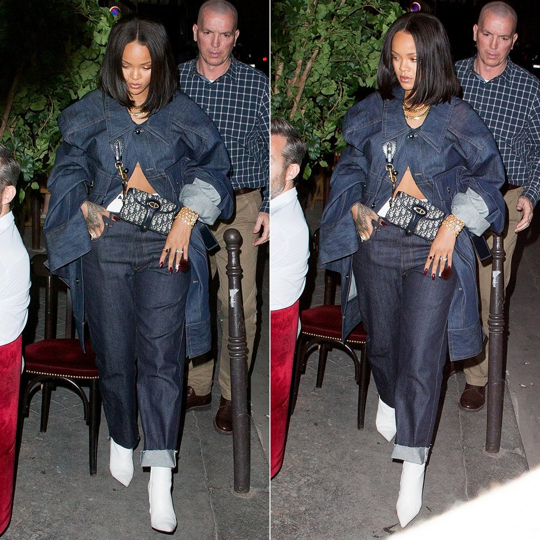 Rihanna Dior Jadior jeans, boxers and cross body bag, Matthew Adams Dolan oversized denim jacket, Balenciaga white Knife ankle boots