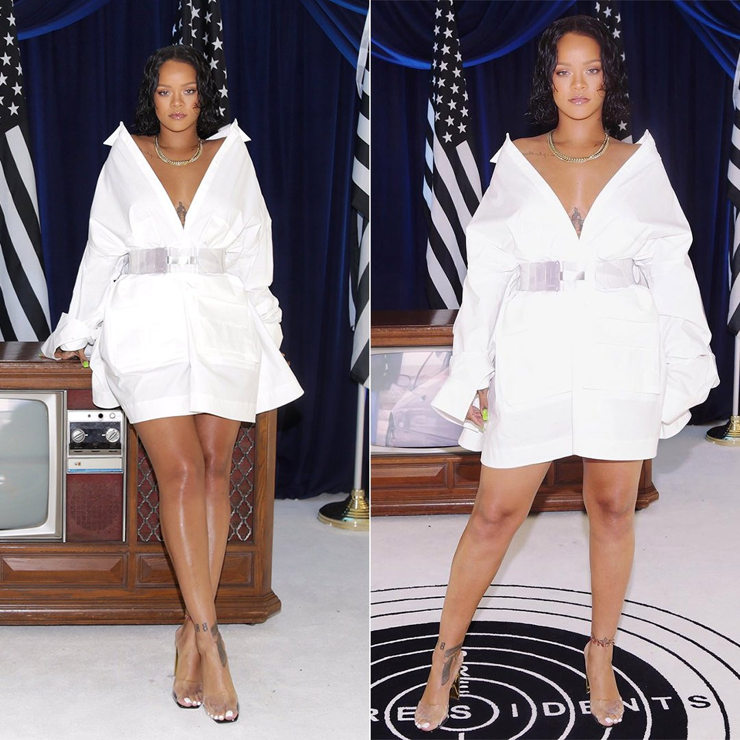 Rihanna JuunJ menswear oversized white shirt dress fall 2017, Maison Margiela transparent PVC belt Revolve Social Club Roc96 x Made Worn pop-up shop Los Angeles