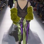 Dries Van Noten Fall 2017 green faux fur jacket as seen on Rihanna