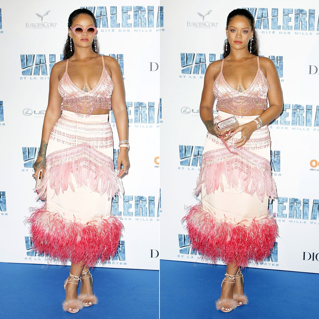 Rihanna Valerian Paris Prada Fall 2017 beaded top and feather skirt, Charlotte Olympia feather Salsa sandals, Christian Louboutin crystal clutch, Cutler and Gross 1053 pearl pink sunglasses, Chopard earrings, XIV Karats anklet