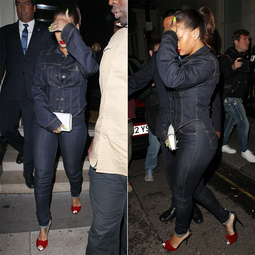 Rihanna Stella McCartney fitted denim jacket, Tom Ford knotted velvet sandals, Dior J'adior white wallet on chain pouch The Arts Club London