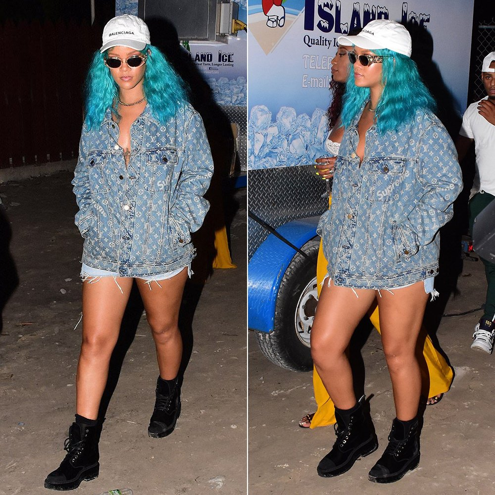 Rihanna Louis Vuitton Supreme denim jacket, Balenciaga white logo cap, Chanel velvet boots, Versace clear frame sunglasses Barbados