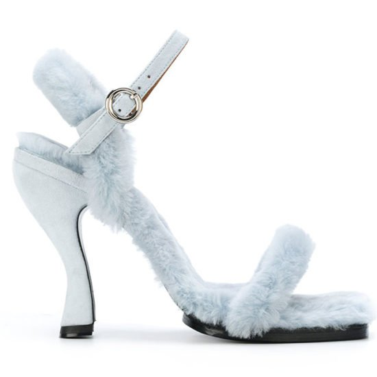 Nicole Saldaña Dylan blue shearling fur ankle-strap sandals