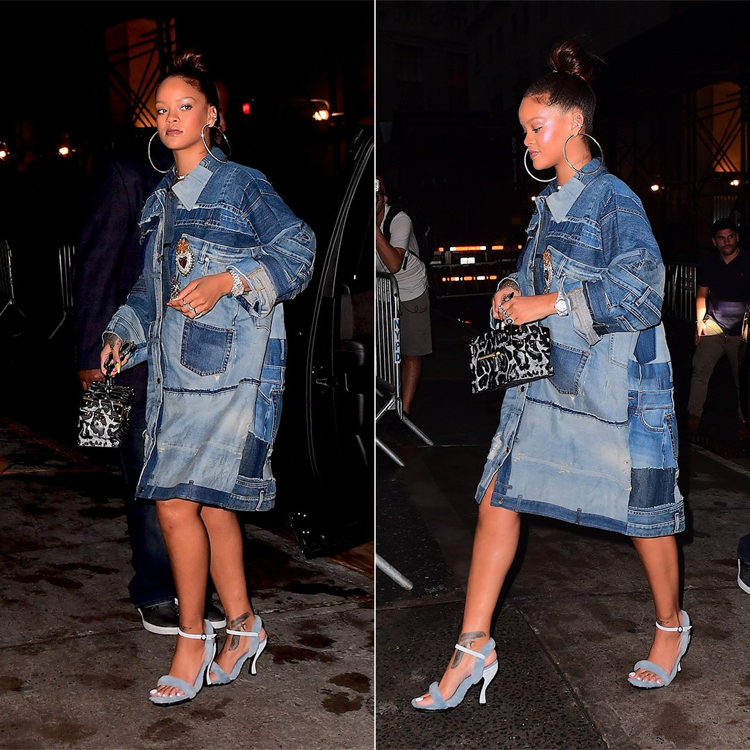 Rihanna Dolce Gabbana patchwork denim jacket, Nicole Saldana blue fur sandals, Louis Vuitton City Trunk leopard bag, Fallon pave macro hoop earrings