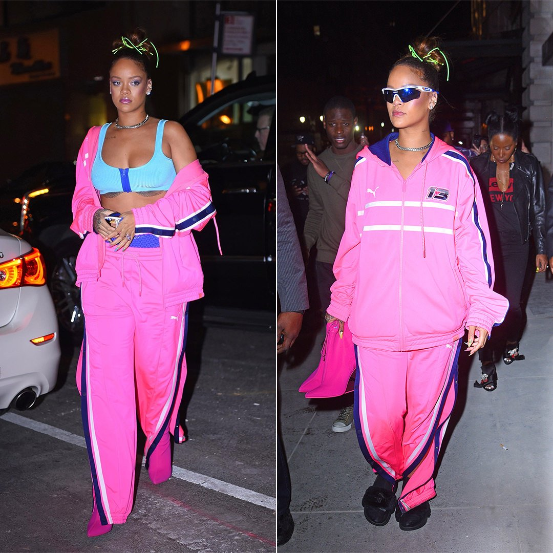 Rihanna Fenty Puma pink track jacket and track pants, Rudy Project white and blue Tralyx sunglasses, Anita Ko diamond ear cuff, Etho Maria pink ring