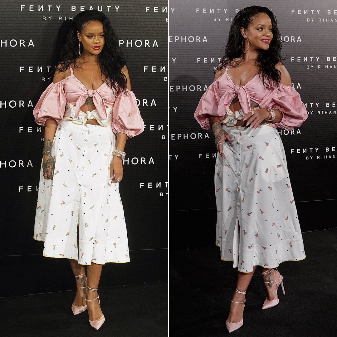 Rihanna Marianna Senchina cold-shoulder dress, Chopard hoop earrings and diamond watch Fenty Beauty event in Madrid
