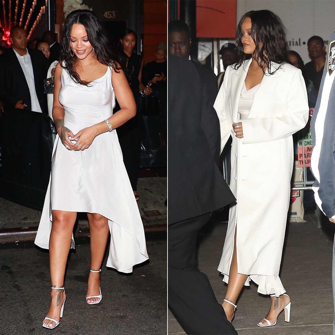 Rihanna Diamond Ball after-party white dress vintage Alexander McQueen, Helmut Lang Spring 2018 white coat, Sergio Rossi SR1 sandals, Chopard jewelry