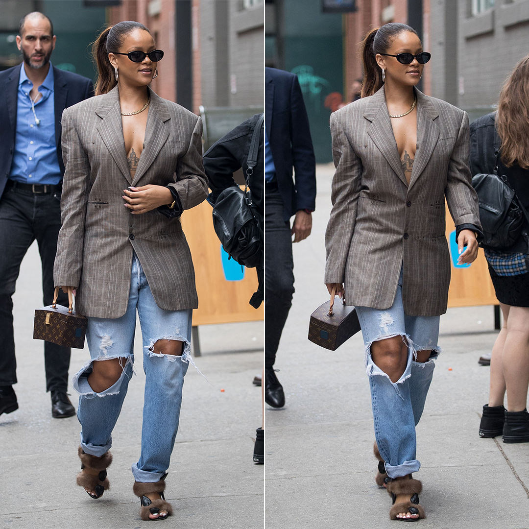 Rihanna YPoject oversized jacket, Olgana Paris fur sandals, Louis Vuitton Frank Gehry box bag, Roberi and Fraud Betty sunglasses, Jennifer Fisher baby Samira hoop earrings