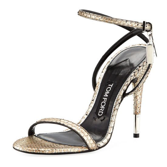 Tom Ford python padline ankle-strap sandals as seen on Rihanna