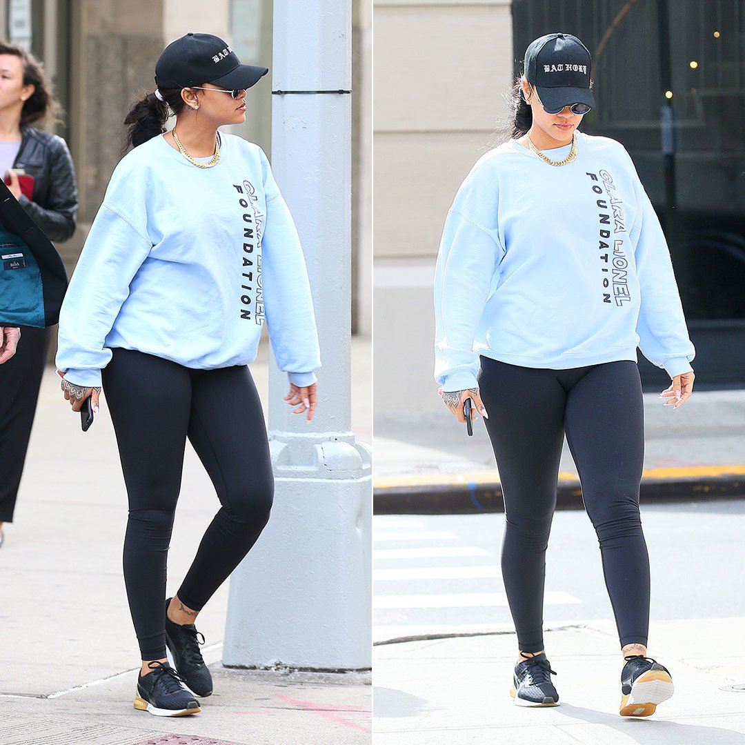 Rihanna Clara Lionel Foundation blue sweatshirt, Puma Ignite Dual Gold sneakers, Bathory hat
