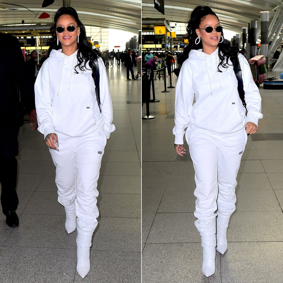 Rihanna Palace Skateboards white hoodie and sweatpants, Off-White x Jimmy Choo Spring 2018 white boots, Dior Oblique saddle bag, Butani diamond hoop earrings