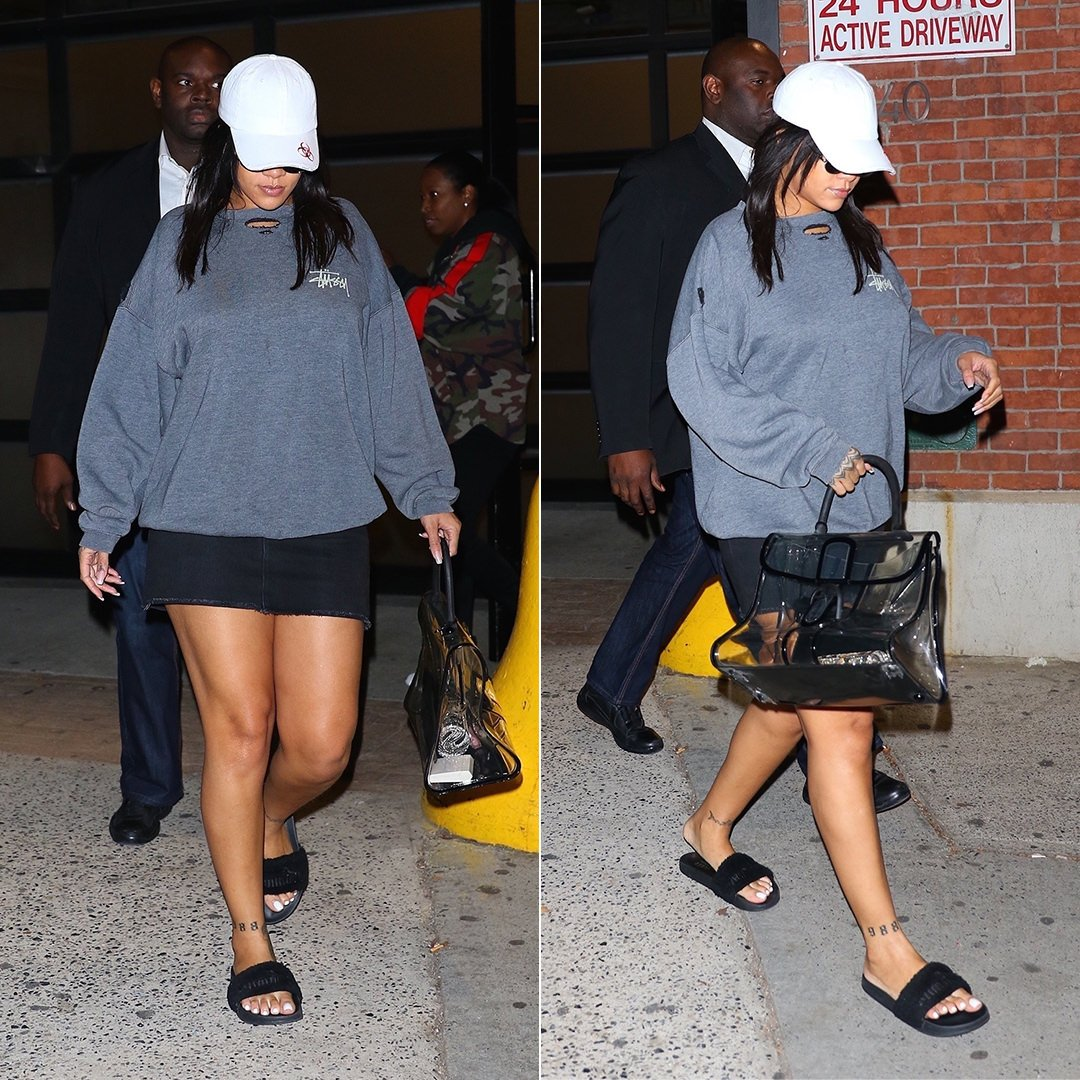 Rihanna Stussy sweatshirt, Vetements genetically modified hat, Fenty x Puma fur slides, Delvaux le brillant x-ray handbag, Alexander Wang x Judith Leiber money roll clutch