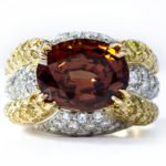 Oscar Heyman garnet and diamond ring as seen on Rihanna
