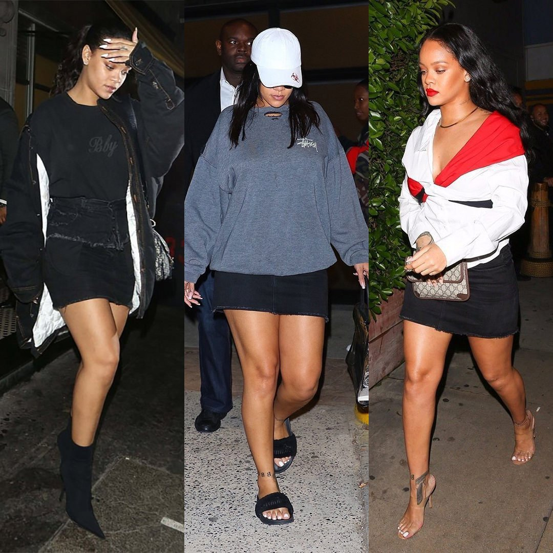 Rihanna Frame black denim mini skirt