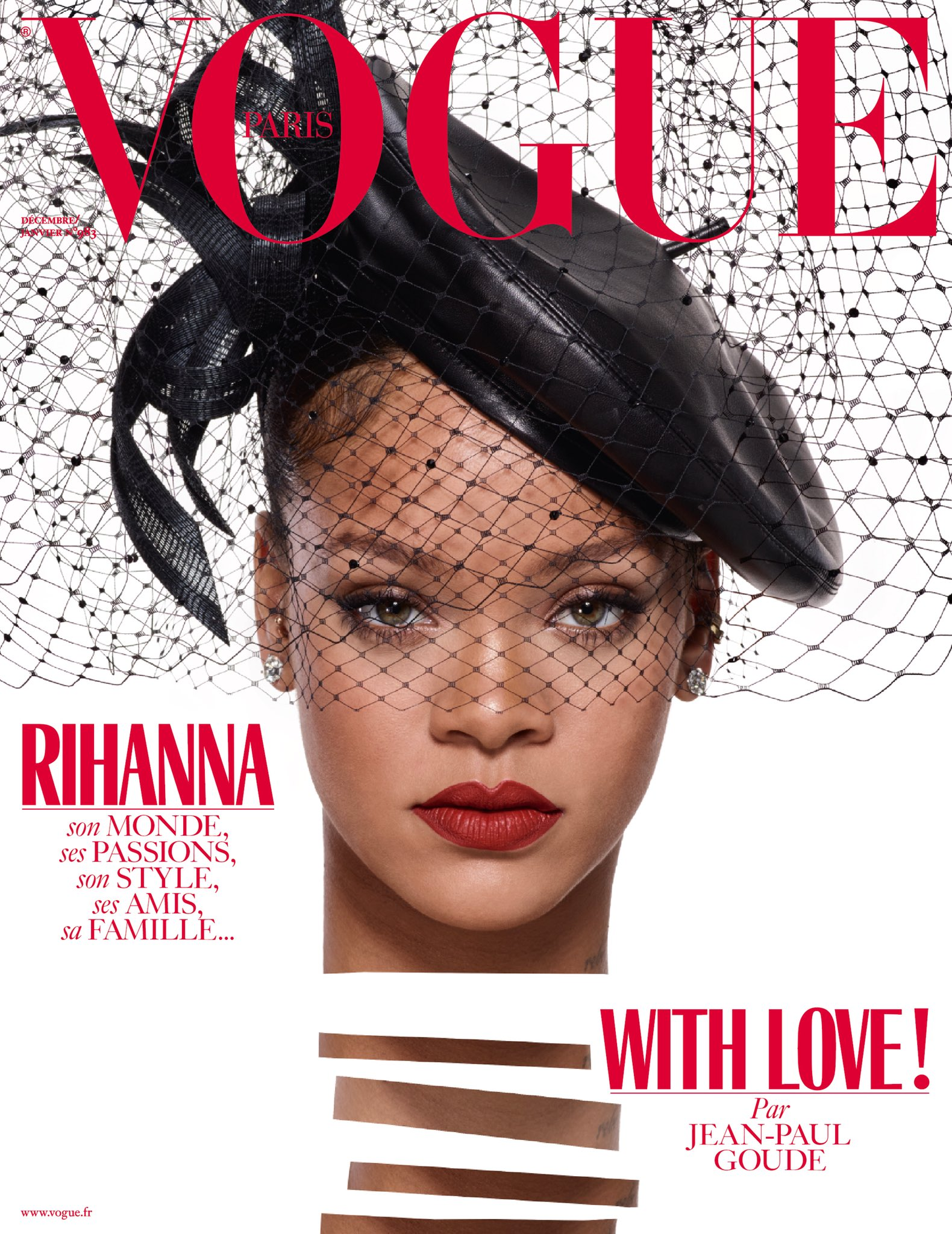 Rihanna Vogue Paris magazine cover shot by Jean Paul Goude