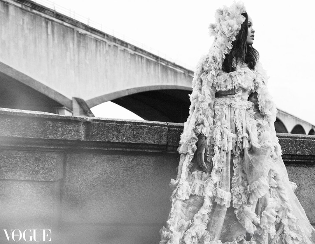 Rihanna Vogue Arabia November 2017 Gucci lace tulle hooded dress