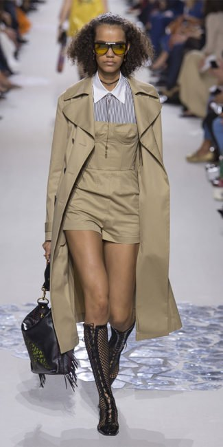 Dior Spring 2018 trench coat and bustier romper