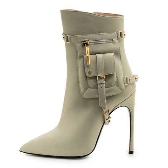 Kendall Miles Pout white ankle boots with strap-on pocket as seen on Rihanna