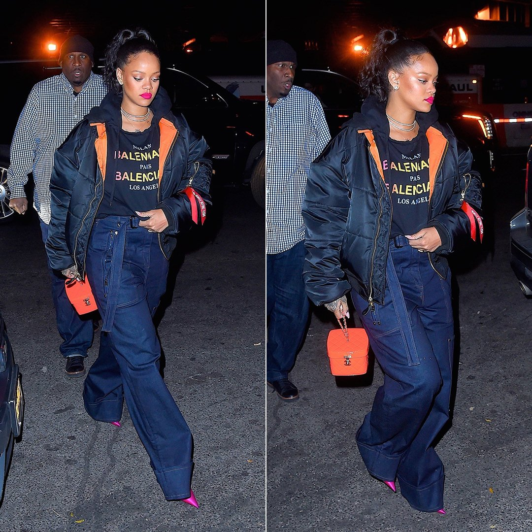 Rihanna Balenciaga cities hooded sweatshirt, Vetements x Alpha Industries black bomber jacket, Tom Ford Spring 2018 wide leg jeans, Chanel makeup train case